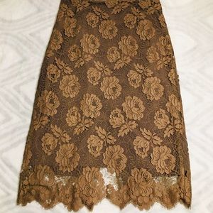 J.Crew Chocolate Floral Lace Skirt size 8